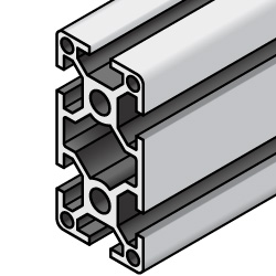 Aluminum Extrusions - 8 Series, Base 50, 50 x 100, 4-Side Slots