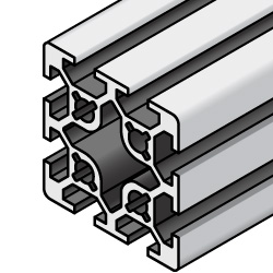 Aluminum Extrusions - 8 Series, Base 50, 100 x 100, 4-Side Slots