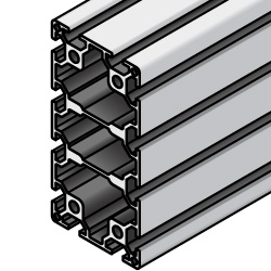 Aluminum Extrusions - 8 Series, Base 50, 100 x 200, 4-Side Slots