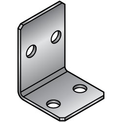 L-Shaped Sheet Metal - Mounting Plates / Brackets - Symmetrically Placed Type -