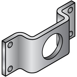 Motor Mtg Bracket Anodized Steel 3-Ring