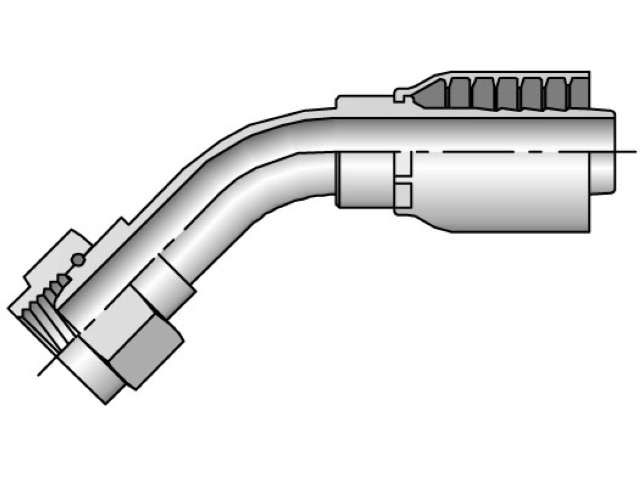 Parker - Crimp Style Hydraulic Hose Fitting -  43 Series Female BSP Parallel Pipe, Swivel 45° Elbow, 60° Cone