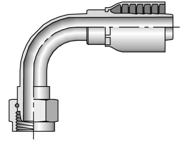 Parker - Crimp Style Hydraulic Hose Fitting -  43 Series Female BSP Parallel Pipe, Swivel 90° Elbow, 60° Cone