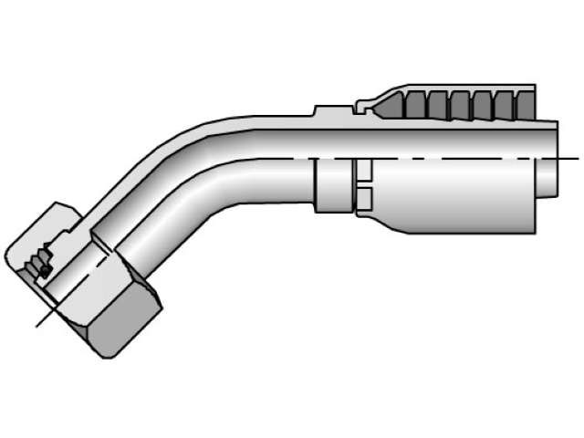 Crimp Style Hydraulic Hose Fitting -  43 Series Female Metric L, Swivel 45° Elbow, 24° Cone with O-Ring (PARKER)