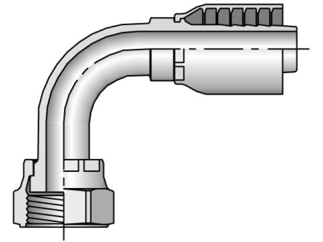 Crimp Style Hydraulic Hose Fitting - 43 Series Female Seal-Lok®, Swivel 90° Elbow, Medium Drop (PARKER)