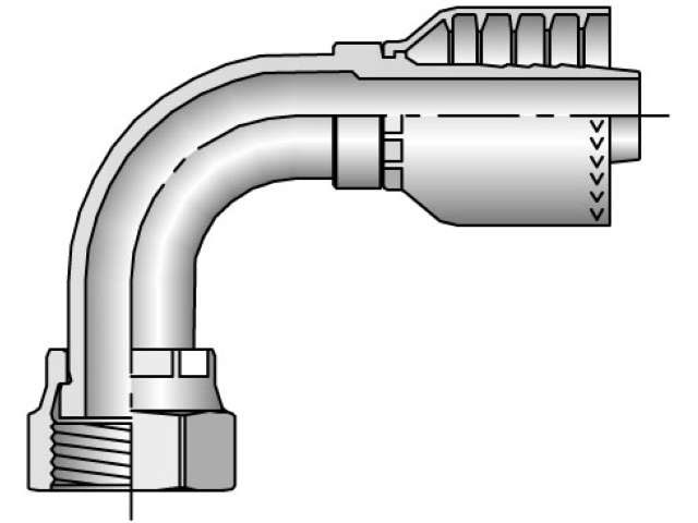 Parker - Crimp Style Hydraulic Hose Fitting - 71 Series Female Seal-Lok®, Swivel 90° Elbow - Medium Drop