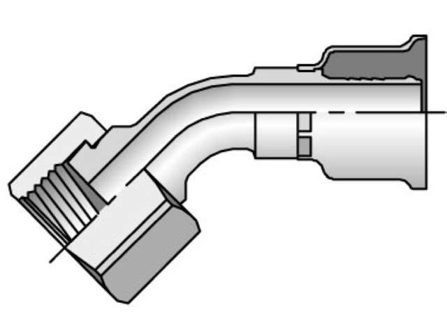 Parker - Crimp Style Hydraulic Hose Fitting - 26 Series Female Seal-Lok®, Swivel 45° Elbow