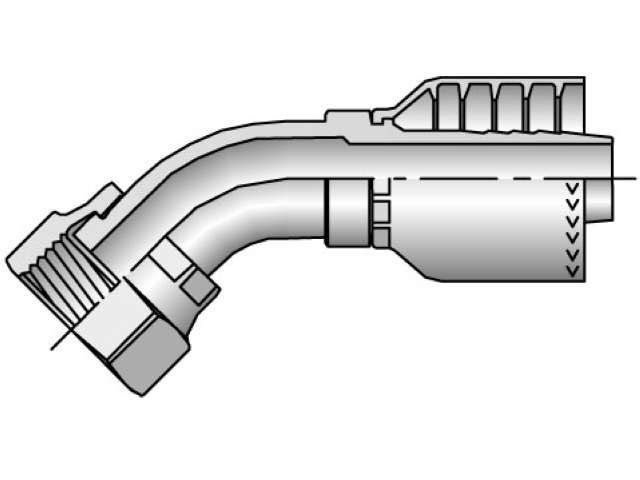 Parker - Crimp Style Hydraulic Hose Fitting - 71 Series Female Seal-Lok®, Swivel 45° Elbow