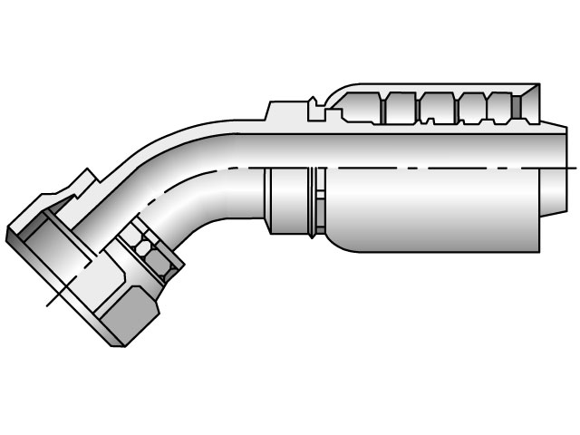 Parker - Crimp Style Hydraulic Hose Fitting - 77 Series Female Seal-Lok®, Swivel 45° Elbow