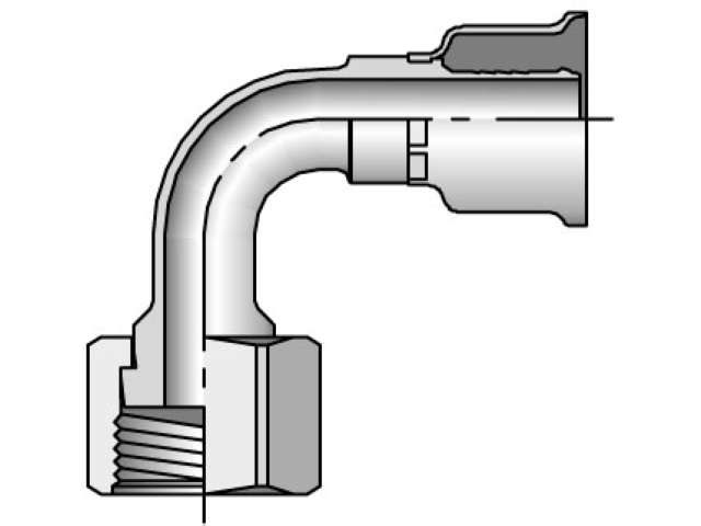 Parker - Crimp Style Hydraulic Hose Fitting - 26 Series Female Seal-Lok®, Swivel 90° Elbow - Short Drop