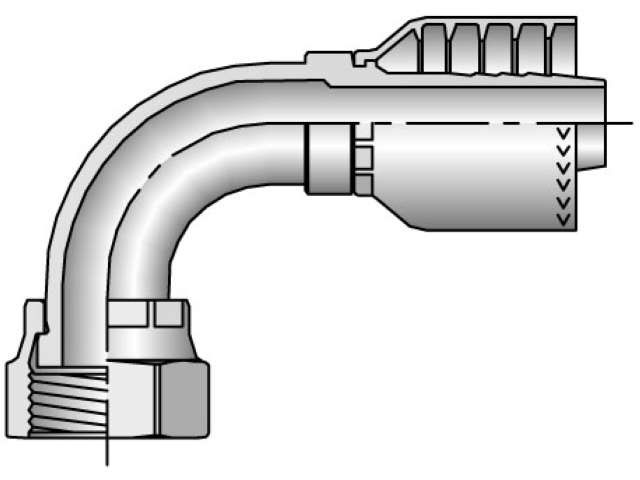 Parker - Crimp Style Hydraulic Hose Fitting - 71 Series Female Seal-Lok®, Swivel 90° Elbow - Short Drop