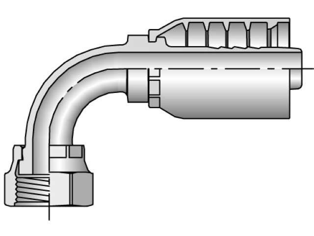 Parker - Crimp Style Hydraulic Hose Fitting - 79 Series Female Seal-Lok®, Swivel 90° Elbow - Short Drop