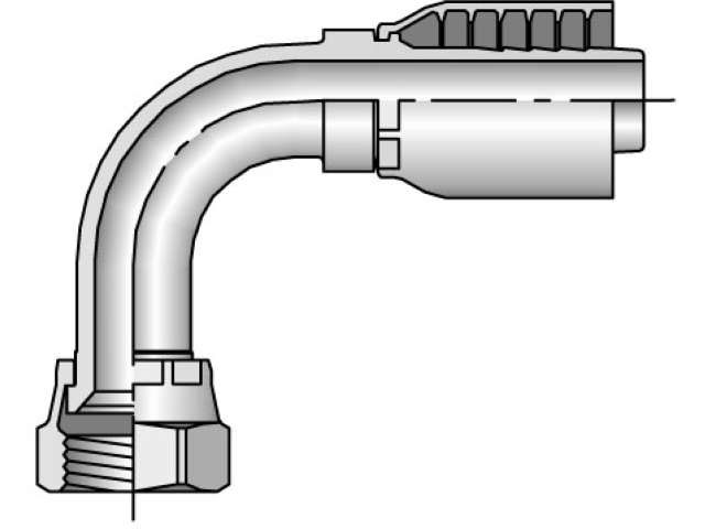 Parker - Crimp Style Hydraulic Hose Fitting - 43 Series Female JIC 37°, Swivel 90° Elbow - Medium Drop