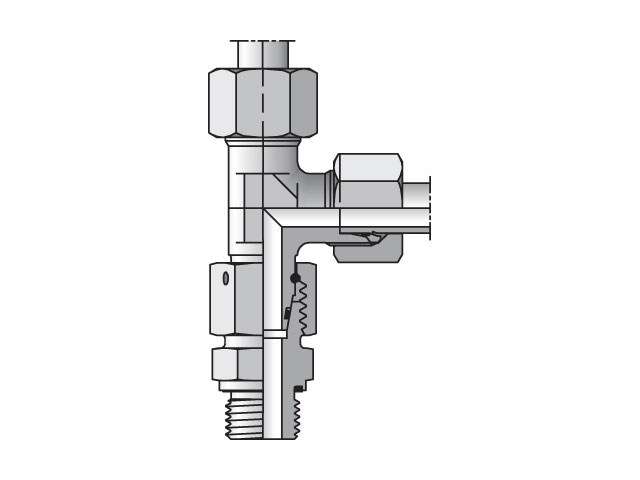 Adjustable Assembled Swivel Run Tee - 24 Degree Flareless / BSPP with Eolastic Seal, EL-R-ED Series (PARKER HANNIFIN)