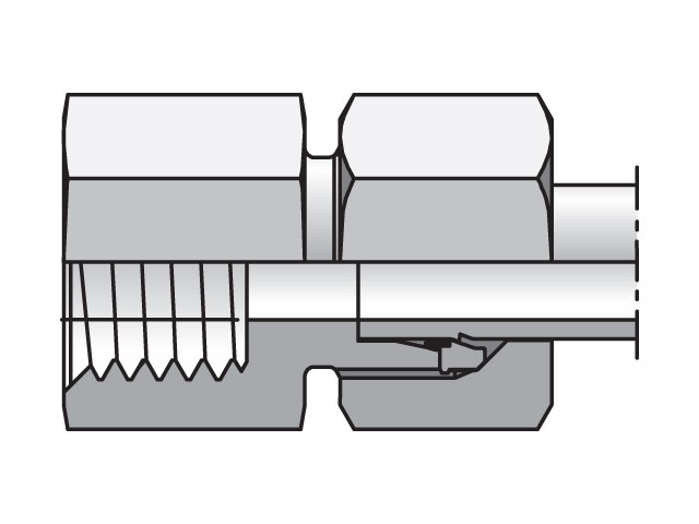 Female Connector - 24 Degree Flareless / Metric, GAI-M Series (PARKER HANNIFIN)