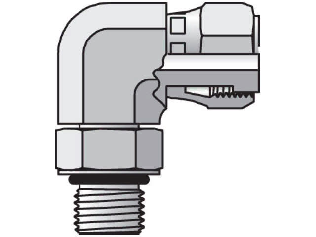 Straight Thread Swivel Elbow - ORFS Swivel / SAE-ORB, AOEL6 Series (PARKER HANNIFIN)