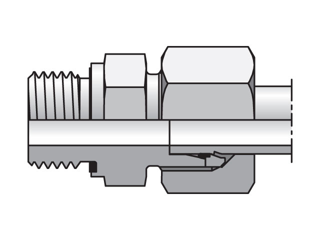 Male Connector - 24 Degree Flareless / BSPP or BSPP, GE-R Series (PARKER HANNIFIN)