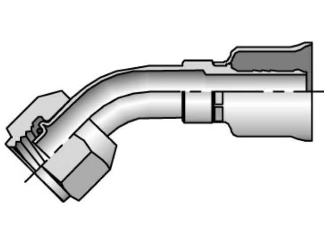 Parker - Crimp Style Hydraulic Hose Fitting - 26 Series Female Tube-O - Swivel 45° Elbow - Short Pilot