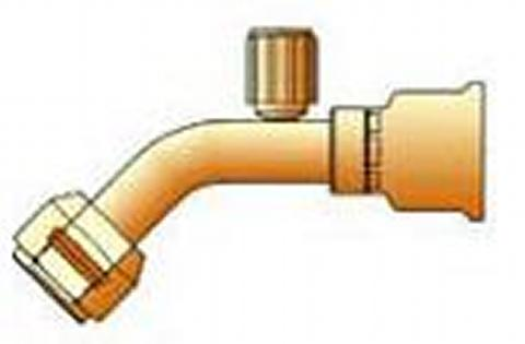 Parker - Crimp Style Hydraulic Hose Fitting - 26 Series Female Tube-O - Swivel - 45° Elbow - Long Pilot  (PARKER HANNIFIN)
