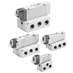 5-Port Solenoid Valve, Base Mounted, Single Unit SY3000/5000/7000/9000 Series (SMC)