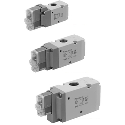 3-Port Solenoid Valve, Pilot Operated Poppet Type, Rubber Seal, Body Ported, Single Unit VP300/500/700 Series (SMC)