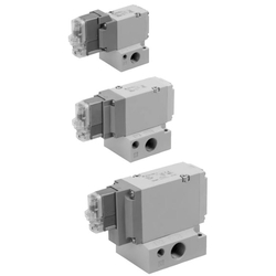 3-Port Solenoid Valve With Rubber Seal, Pilot/Poppet Type, Base Mounted, Single Unit, VP300/500/700 Series (SMC)