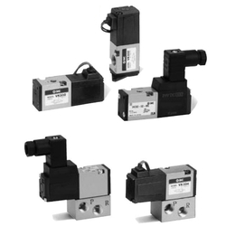 3-Port Solenoid Valve, Direct Operated Poppet Type, Rubber Seal, VK300 Series (SMC)