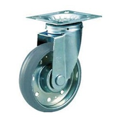 High Tensile Strength Steel Press-Formed Gray Rubber Caster with Freely Rotating Fittings