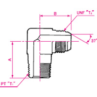 Pipe Jointing JIC37° Flare Male 90° Elbow
