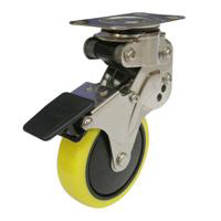 NPG Model Swivel Caster, Plate Type, Anti-Static Urethane Foam Wheel (with Stopper)
