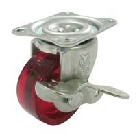 G Swivel Caster with Stopper (Single-Bearing) Plate Type, Polycarbonate Wheel