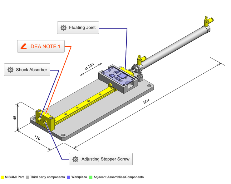 No 000035 Cylinder Linear Motion Mechanism|incad Library