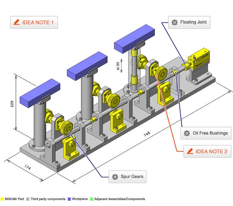 No 000153 Lifting Mechanism Using Rack and Pinions | inCAD Library