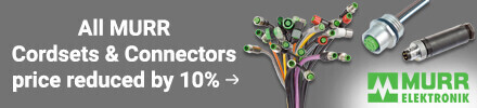 All Murr Cordsets and Connectors price reduced by 10%